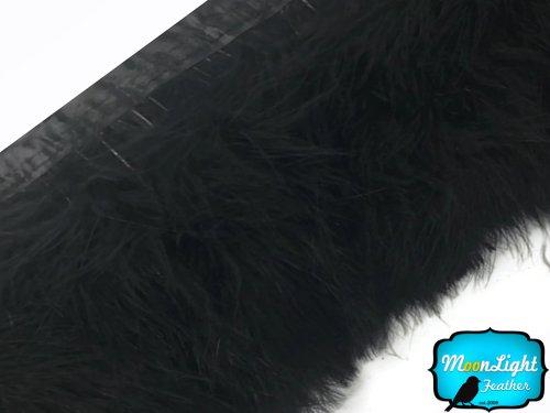 Fluff Trim (Feathers, Turkey Feathers - Black Marabou Turkey Fluff Feather Fringe Trim - 1 Yard)