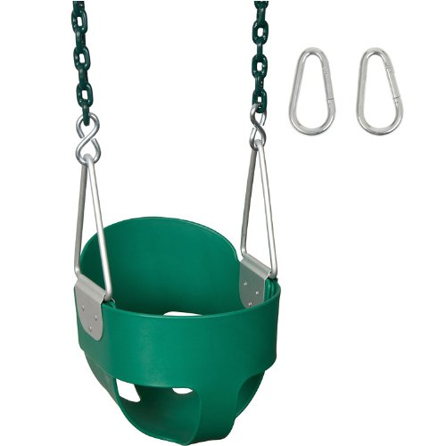 Swing Set Stuff Highback Full Bucket (Green) with 5.5 Ft. Coated Chain and SSS Logo Sticker