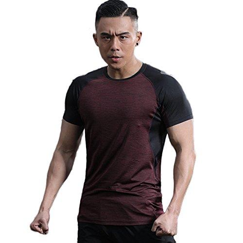 LANBAOSI Hommes T-Shirt Summer Beach Ras du Cou Raglan Manches Courtes Burnout Tees