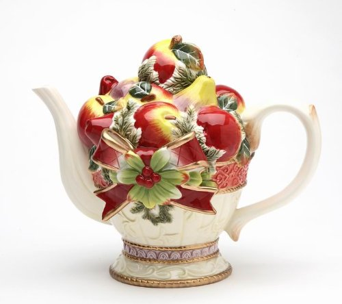 Elegant Victorian Harvest Teapot with Red Cardinal Top Collectible