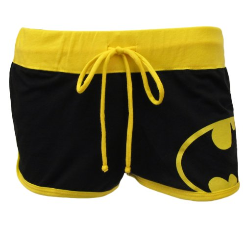 DC Comics Batman Booty Shorts Junior Girls, Black/Yellow, X-Large (Womens Batman Underwear)