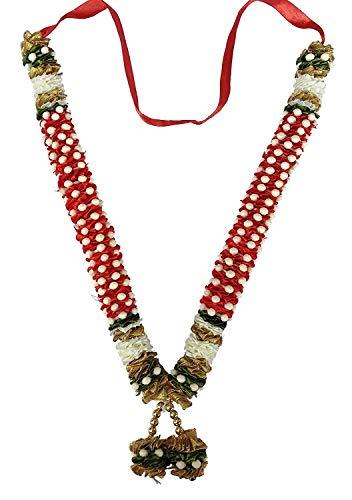 Decoration Craft Small Fabric & Plastic Beads Garland (36 cm + Ribbon) from Bhavik Handicraft