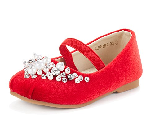 DREAM PAIRS Little Kid Aurora-03 Red Girl's Wedding Mary Jane Ballerina Flat Shoes Size 11 M US Little Kid