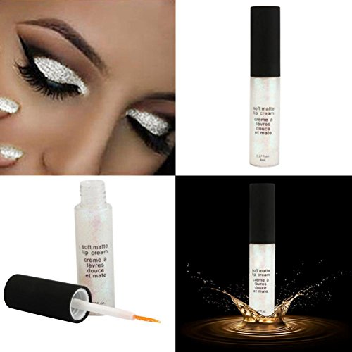 Baomabao Eyeshadow Waterproof Smoky Eyes Glitter Liquid Eyeliner Pencil (White)