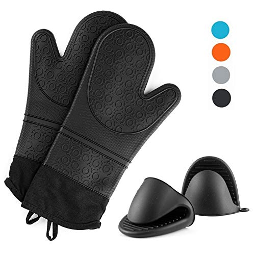 Silicone Oven Mitts and Pot Holders Set, Heat Resistant Cooking Oven Gloves Set 1 Pair (14.6 '')with 2 Potholders,Non-Slip Textured Surface (Black)