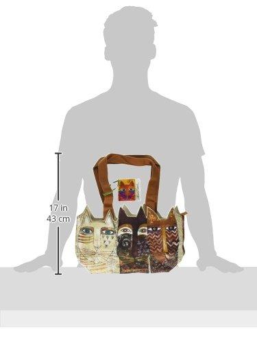 Laurel Burch, con motivo di Laurel Burch-Borsa Tote Zipper Top, 36 x 25,5 x 20 cm, motivo gatti Ancestral