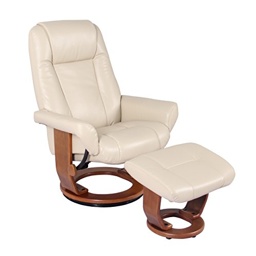 - Windsor Soft Touch Synthetic Leather Swivel Chair Recliner & Ottoman Lounger by Jerry Sales (Stucco)