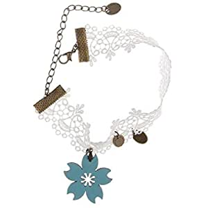 White Lace Blue Floral Anklet with Alloy