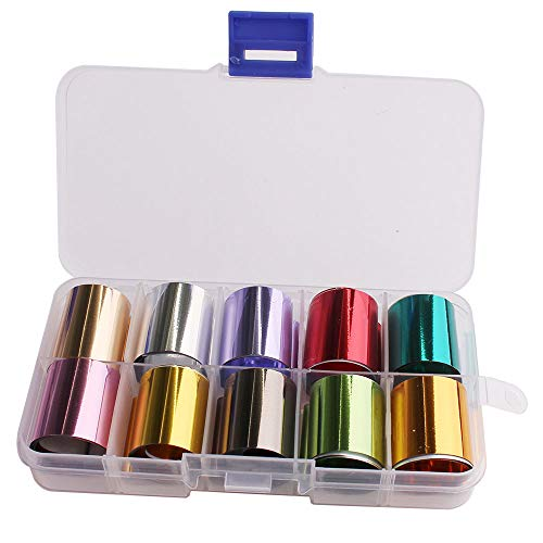 WOKOTO 10 Rolls Solid Color Nail Art Foil Stickers Tip Mirror Design Starry Sky Adhesive Nail Transfer Decals Manicure Decoration (0.98inchs39.4inchs)