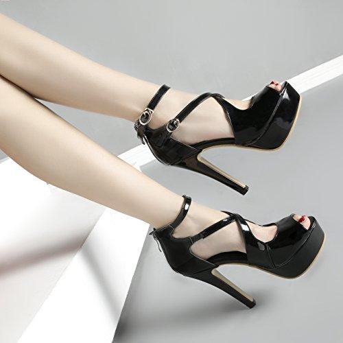 Damen Peep Toe High Heels Plateau Lackleder Sandalen Elegant Pumps mit Knöchelriemchen und Schnalle Schuhe Schwarz