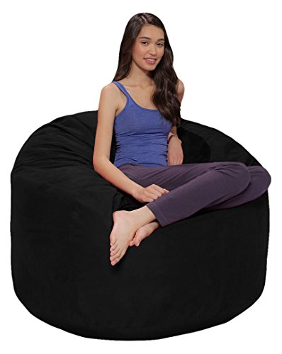 Comfy Sacks 4 ft Memory Foam Bean Bag Chair, Jet Black Cords