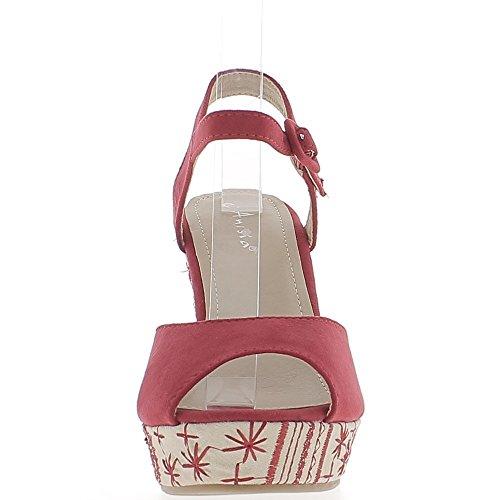 Sandales compensées rouges effet daim talon décoré de 11 cm