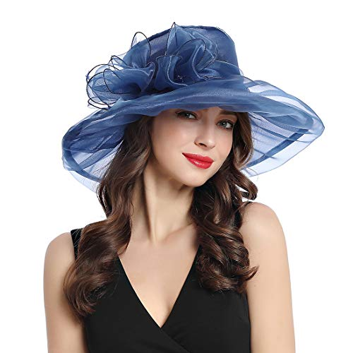 Women's Organza Church Kentucky Derby Fascinator Tea Party Wedding Hat (Navy Blue-C)