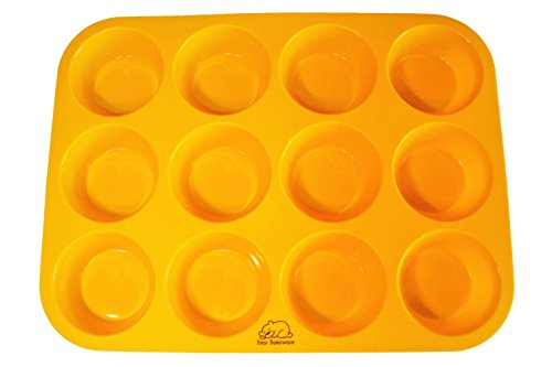 Yellow 12 Cup Silicone Muffin/Cupcake Pan with Recipe eBook (14) by Bear Bakeware, Non-stick, BPA-free, Dishwasher Friendly, FDA Approved 100% Food Grade Silicone]()