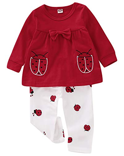 Cotton Baby Girl Clothes Set 2 Piece Long Sleeve Top Ladybug Outfit Red 6-9 Months