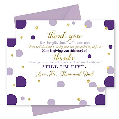 15 Purple and Gold Thank You Cards with Lilac Envelopes -Stationery for Girls Baby Shower Dazzling Abstract -