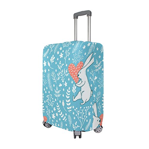 Cute Rabbit Love Floral Flowers Suitcase Luggage Cover Protector for Travel Kids Men Women by ALAZA (Image #1)