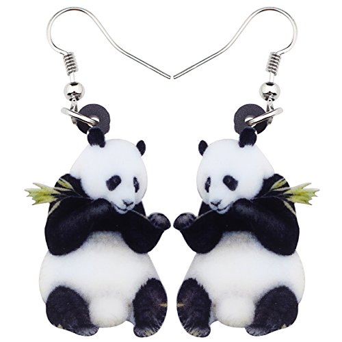NEWEI Acrylic Sweet Panda Earrings Drop Dangle Fashion Animal Jewelry For Girl Women Teens Charms