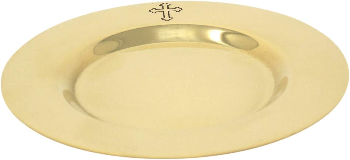 Religious Gifts Engraved Fleur De Lis Cross on 4 1//2 Inch Polished Brass Communion Paten Well