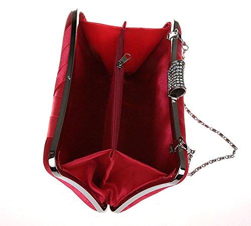 Purse Clutch Evening Party red Bag Black Women Girls Ladie's Handbag Plain Satin Chain Handheld Wedding TwCqCAZ1f