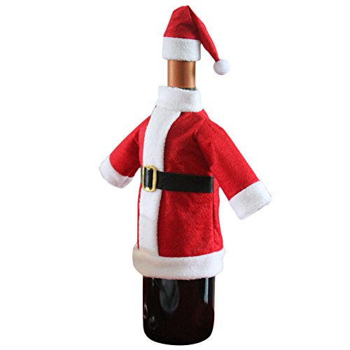 Christmas Decor Wine Bottle Cover Bags Decoration Home Party Santa Claus Clothes Hat (1)]()