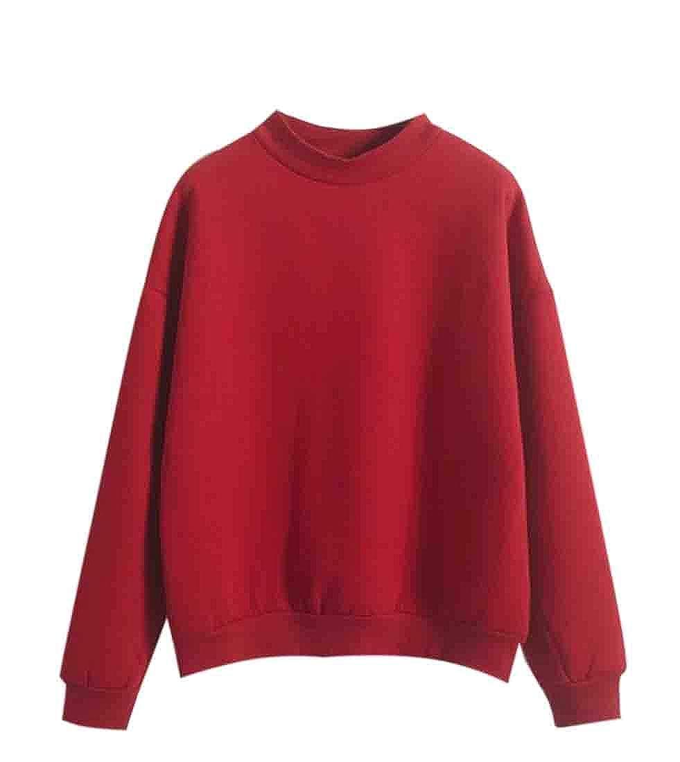 Nanquan Women Long Sleeve Pure Color Thick Warm Crewneck Pullover Sweatshirt