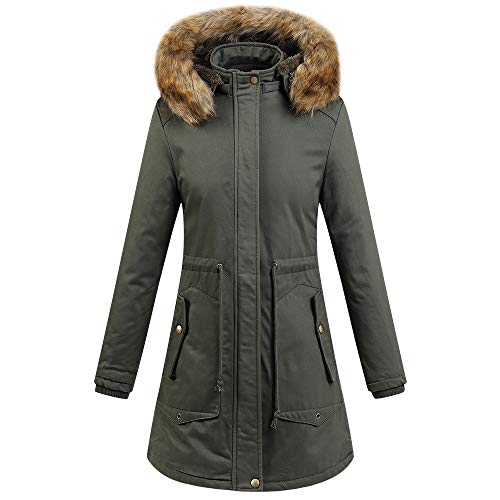 - URIBAKE Winter Women's Anorak Thick Warm Outerwear Hooded Coat Cotton-Padded Zipper Trench Jacket Plus Size