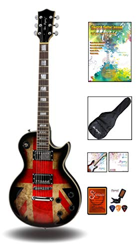 Leo Jaymz 24.75″ Single Cut Curved Top Electric Guitar – with UK Flag Graphic on Top – Grover Machine Heads Installed – Super Light String in 0.9 and Extra Set as Spare Parts