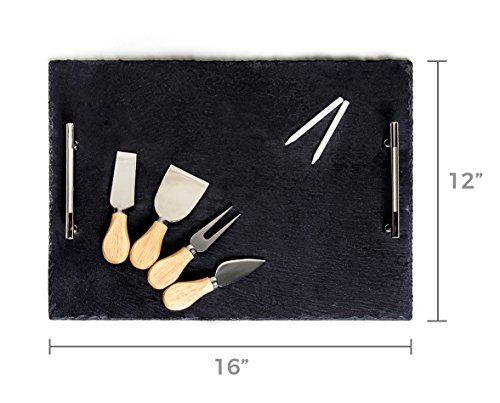 Slate Cheese Board - 7 pc Serving Tray Set 16''x12'' Large - Stainless Steel Handles - Soapstone Chalk - 4 Cheese Knives - Foam Protective Feet by Proper Goods by Proper Goods (Image #1)
