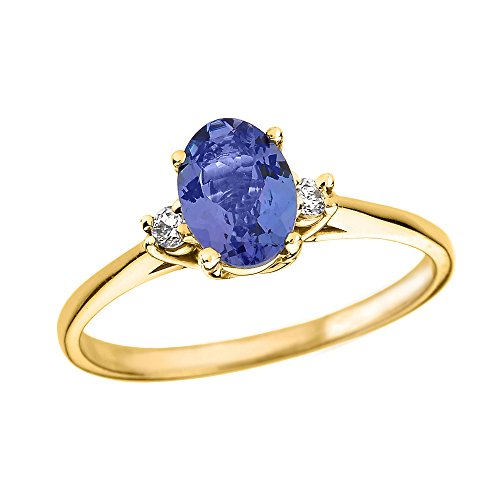 Tanzanite and Diamond 14k Yellow Gold Engagement Proposal Ring(Size 10.25) ()