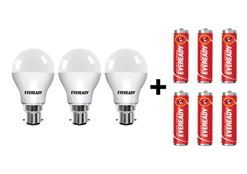 Eveready B22 Base 9-Watt LED Bulb (Pack of 3, Cool Day Light) with 6 1015 AA carbon Zinc Batteries