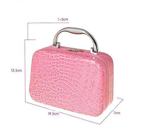 LOVE STUDIO,Cosmetic Case Piedra Patrón Bolsa de Maquillaje a Mano Bolsa de Almacenamiento Cuadrada con Caja de Bolsillo y Espejo B