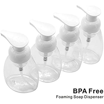 Warmoor Foaming Soap Dispensers, 4 pack 8.5 Oz Pump Bottle– BPA Free- Liquid Containers, Refillable Foamer