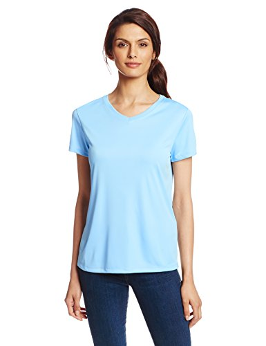 King Womens Light T-shirt - Hanes Sport Women's Cool DRI Performance V-Neck Tee,Light Blue,Large