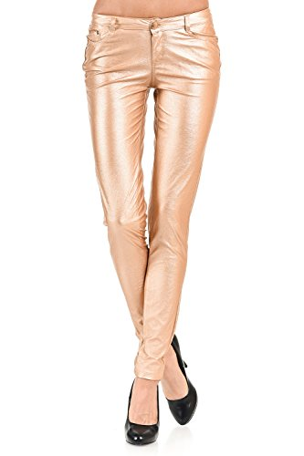 VIRGIN ONLY Women's Skinny metallic PU leather pants-L-Gold