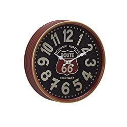 Deco 79 Contemporary 12 Round Iron Route 66 Wall Clock, Black/Mahogany Brown/White/Red