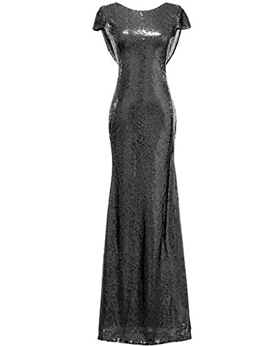 SOLOVEDRESS Women's Mermaid Sequined Long Evening Dress Formal Prom Gown Bridesmaid Dresses (US 14,Black)