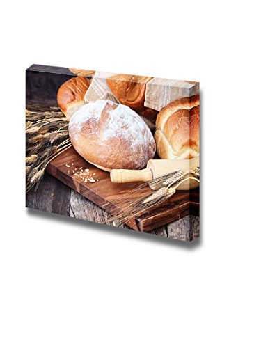 Canvas Prints Wall Art - Delicious Food Variety of Freshly Baked Breads and Grain | Modern Wall Decor/Home Decor Stretched Gallery Canvas Wraps Giclee Print & Ready to Hang - 16