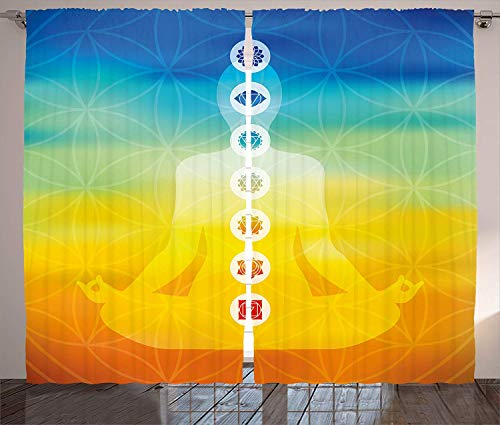 LAMANDA Chakra Blackout Window Curtain Panels Treatment Thermal Insulated Grommets Darkening Drapes, 2 Panel Set Gradient Colored Digital Female Human Body with Central Chakra Points Design (Chakras In Human Body And Their Functions)