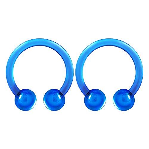 2PCS Flexible Acrylic Dark Blue Horseshoe Barbell 16 Gauge 5/16 8mm 3mm Ball Septum Earrings Cartilage Piercing Jewelry 3563 -