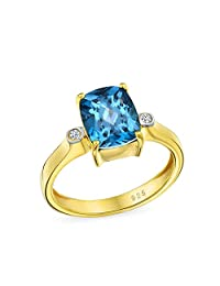 3.17CT Zircon Solitaire Cushion Cut London Blue Topaz Engagement Ring For Women 14K Gold Plated 925 Sterling Silver