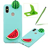 TPU Case for Xiaomi 6X,Soft Rubber Cover for Xiaomi 6X,Herzzer Ultra Slim Stylish 3D Watermelon Slice Series Design Scratch Resistant Shock Absorbing Flexible Silicone Back Case
