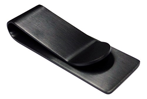 - Silver Stainless Steel Slim Money Clip #3 - Black