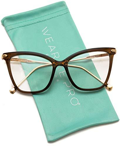 WearMe Pro - New Elegant Oversized Clear Cat Eye Non-Prescription Glasses (Clear Brown, 51)
