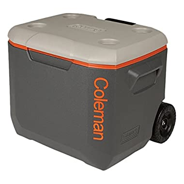 Coleman 3000002005 50Qt Xtreme Wheeled Cooler Dark Gray/Org/Light Gray