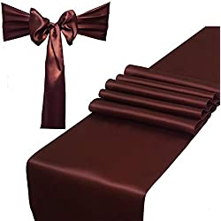 Combo Pack - 2 Satin Table Runners 12 x 108 inch & 10 Chair Sashes for Wedding Banquet Decoration, Bright Silk and Smooth Fabric Party Decor (Combo 2 Table Runner + 10 Chair Saches, Coffee Brown)