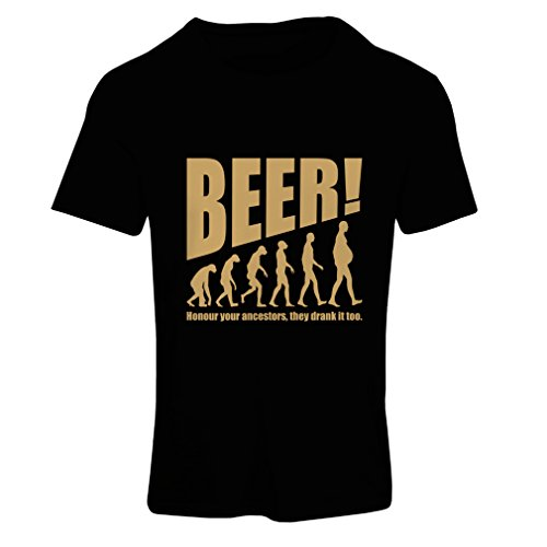 lepni.me T Shirts For Women The Beervolution - Unique Funny Sarcastic Gift Ideas For Beer Lovers, Drinking Evolution (Small Black Gold)