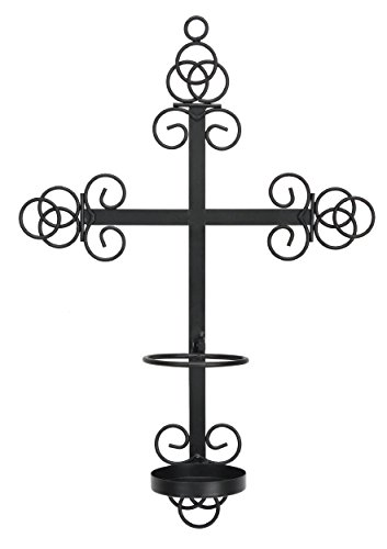 The Saints Gift Collection Trinity Cross Bronze Wall Sconce with Candle Safety Guard Ring For all 8.1875