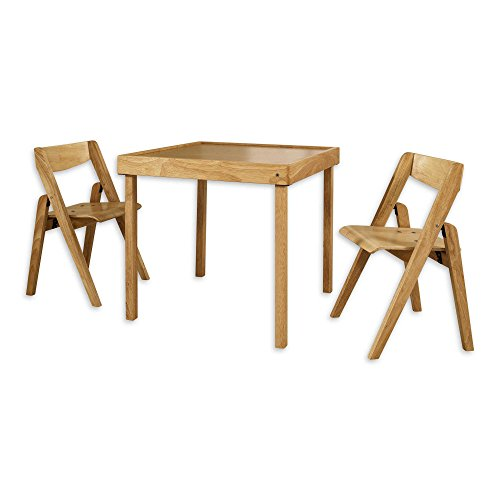 Juvenile Folding Table (Stakmore Juvenile 3-Piece Sturdy Folding Table Set in Natural (Table measures 22.75in L x 25in W x 25in H and Each Chair Measures 13.35in L x 14.62in W x 22.75in H))