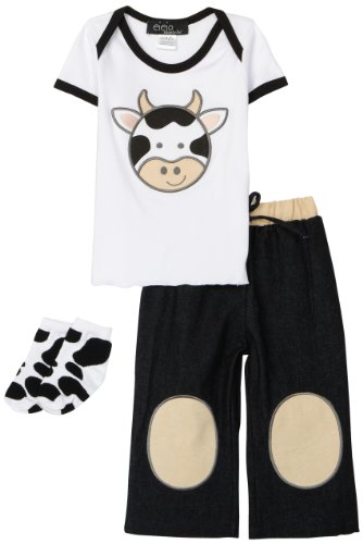 Mud Pie Baby Eieio Boys Cotton Tee Shirt, Jeans, and Decorated Socks Set, Cow, 0-6 Months